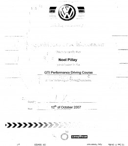 GTI Performance course VW 12th October 2007