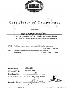 Certificate of competence ETDP - SETA