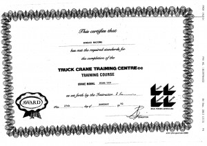 Truck Crane training